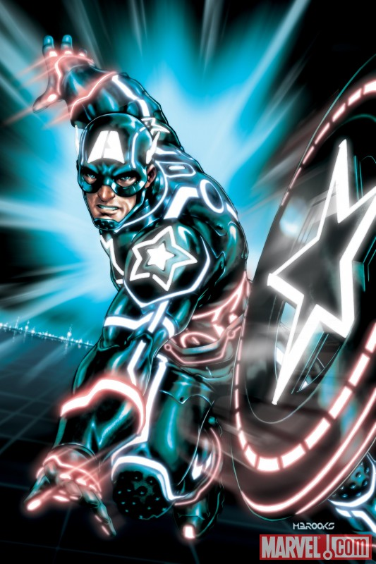 Iron Man, Spider-Man, Wolverine and more get the TRON treatment CAPTAIN AMERICA 0612 TRON VARIANT by Mark Brooks