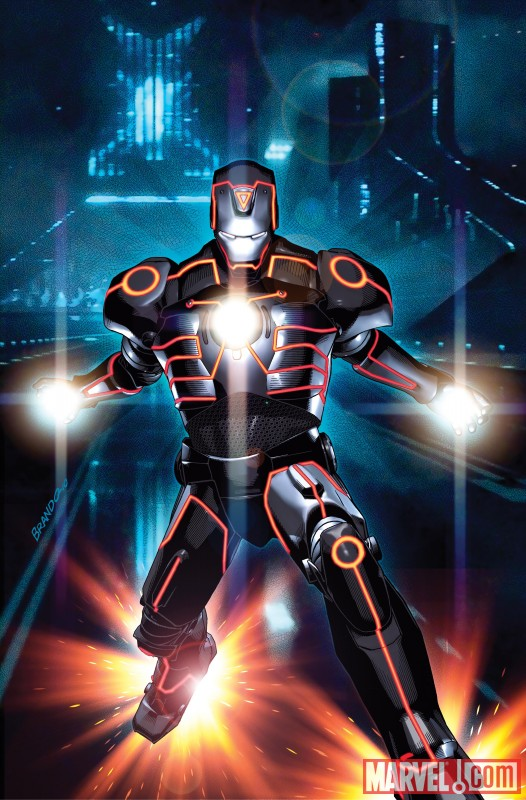 Iron Man, Spider-Man, Wolverine and more get the TRON treatment INVINCIBLE IRON MAN 0033 TRON VARIANT by Brandon…