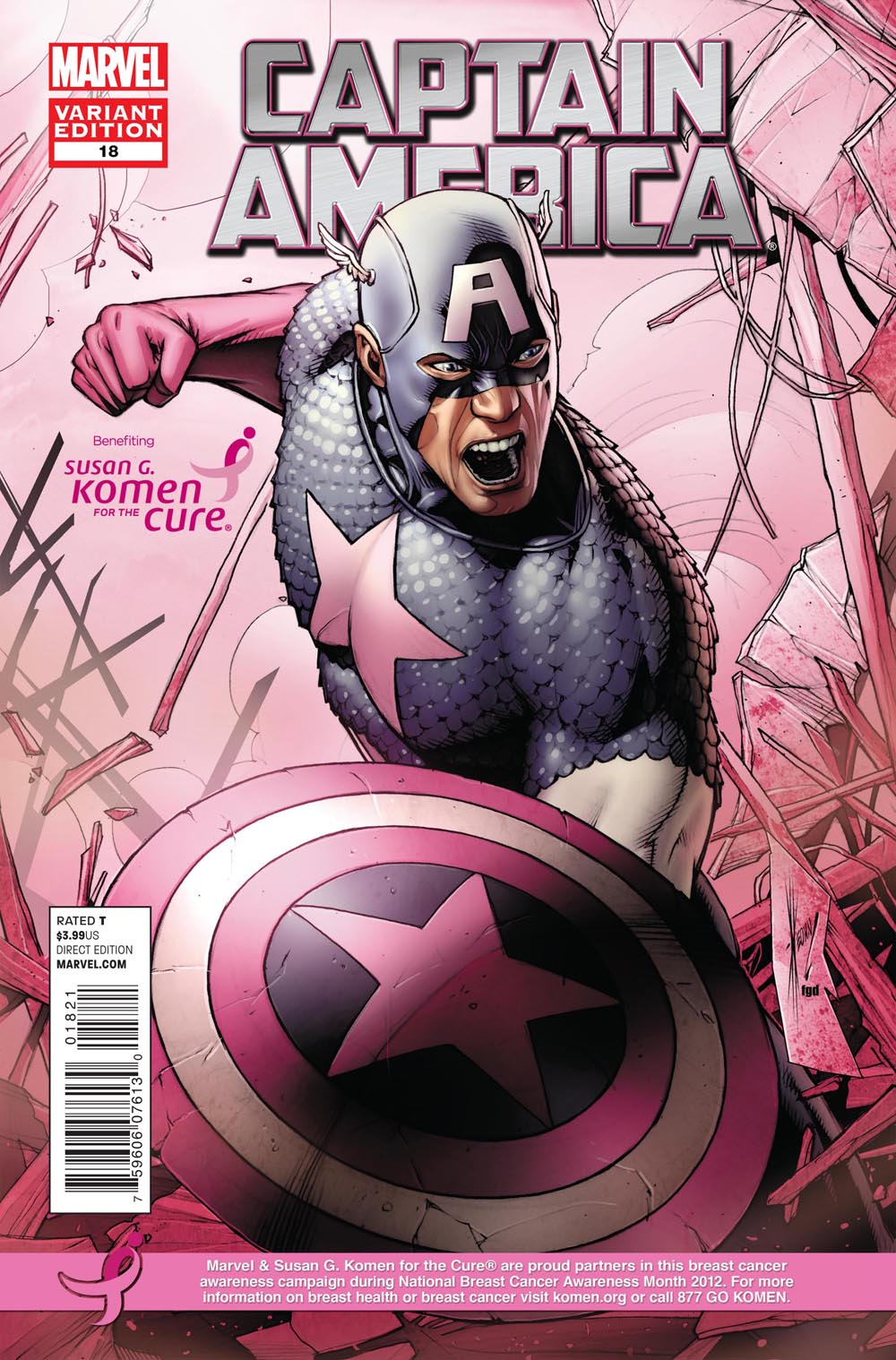 Marvel Comics and Korman for the cure comic book covers captainamerica_18_komen