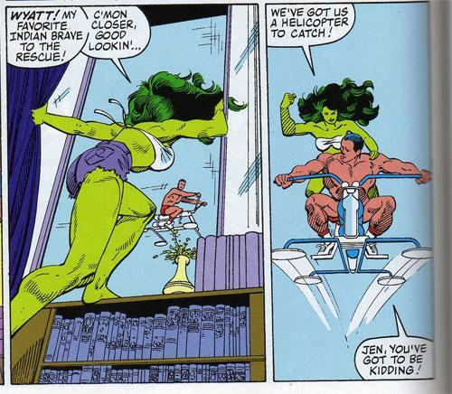 She Hulk has a helicoptor to catch