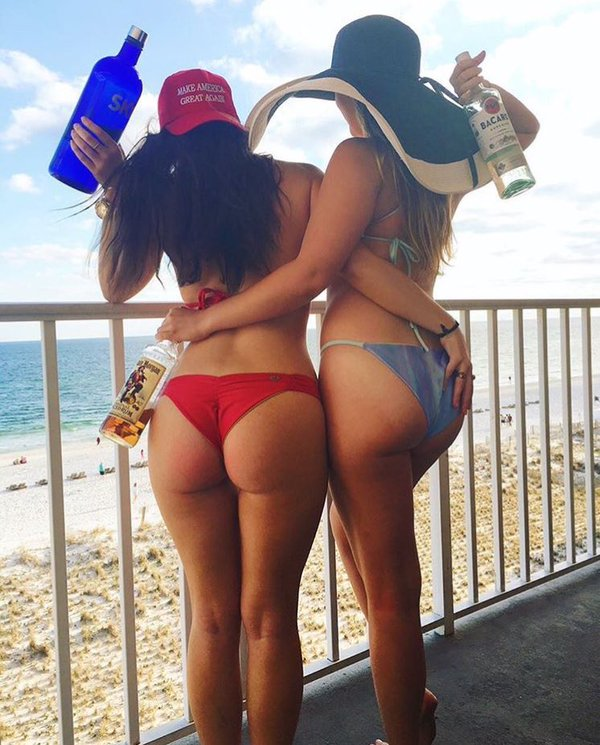 two trump girls at the beach