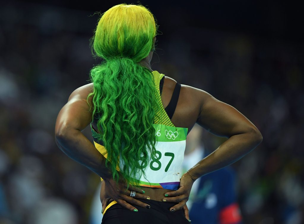 green haired Olympian