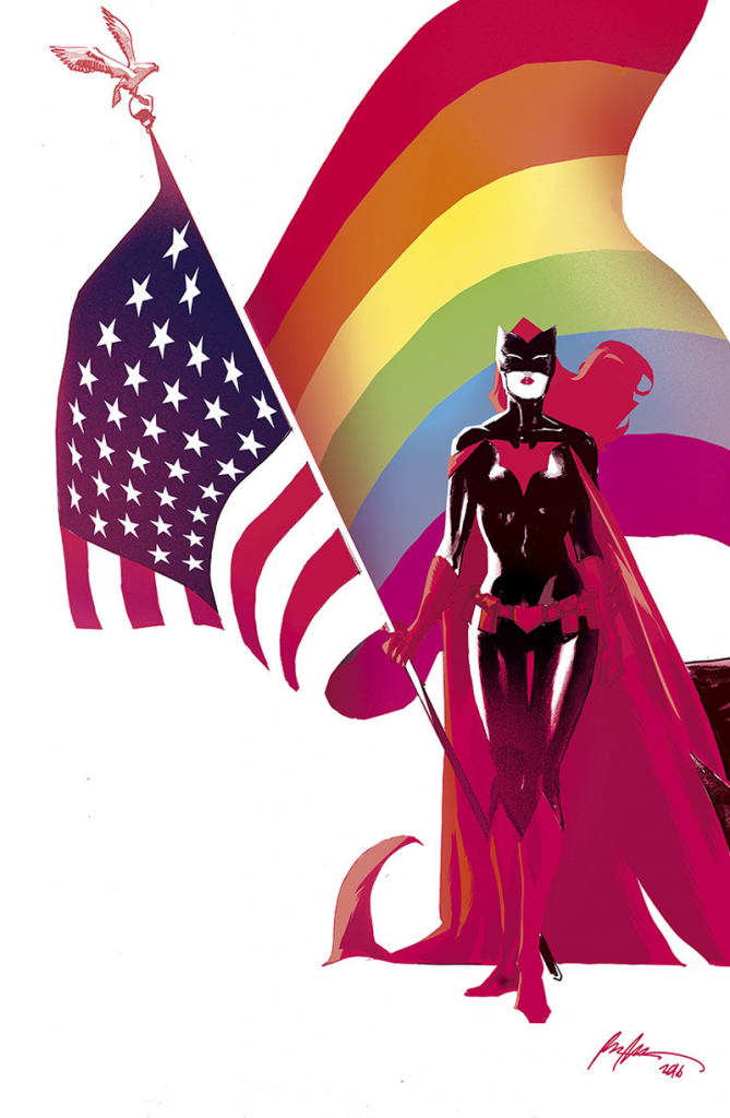 Batwoman with a gay American flag