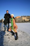003 99x150 Nude girl in the snow with awesome green scarf