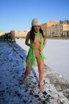016 99x150 Nude girl in the snow with awesome green scarf