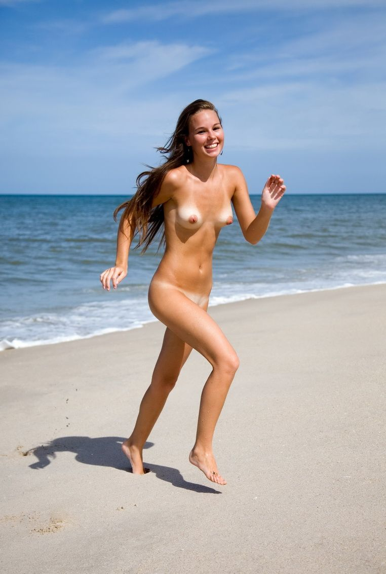 Sexy women running naked on the beach thought differently