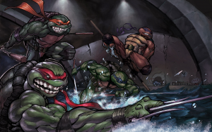 TMNT in the sewer water
